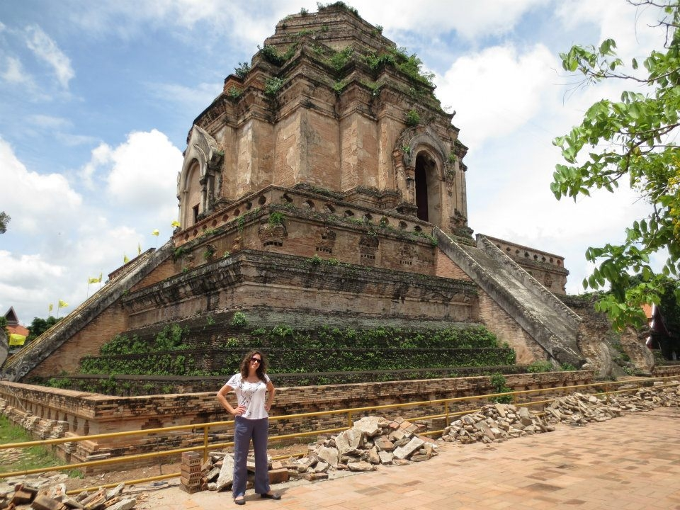 Natalie next to an old temple