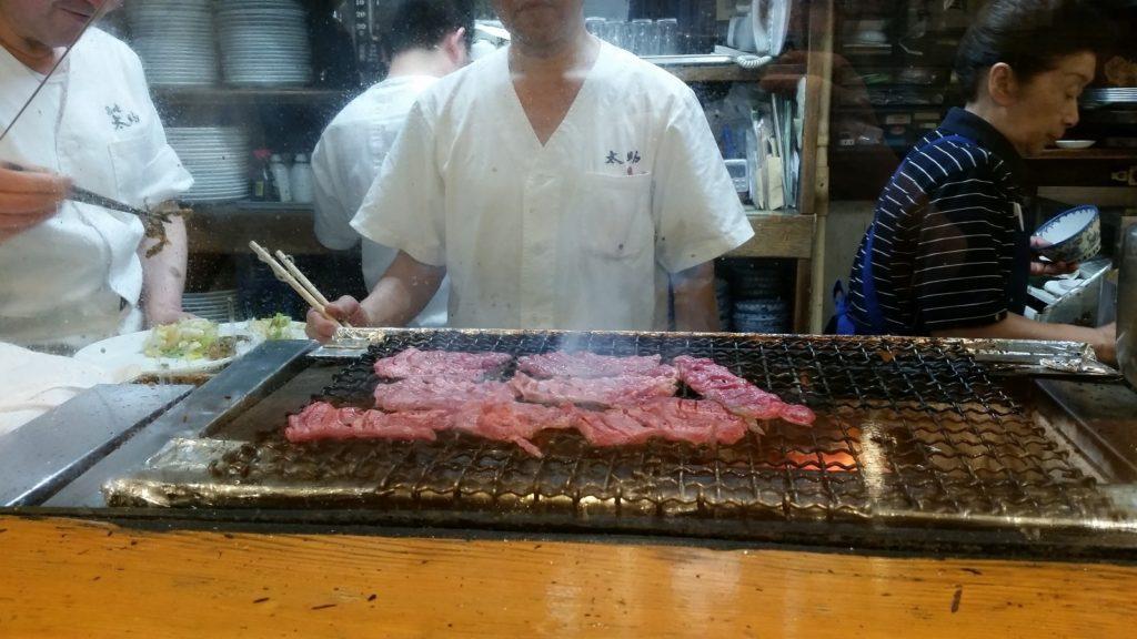 cooking gyutan in Sendai