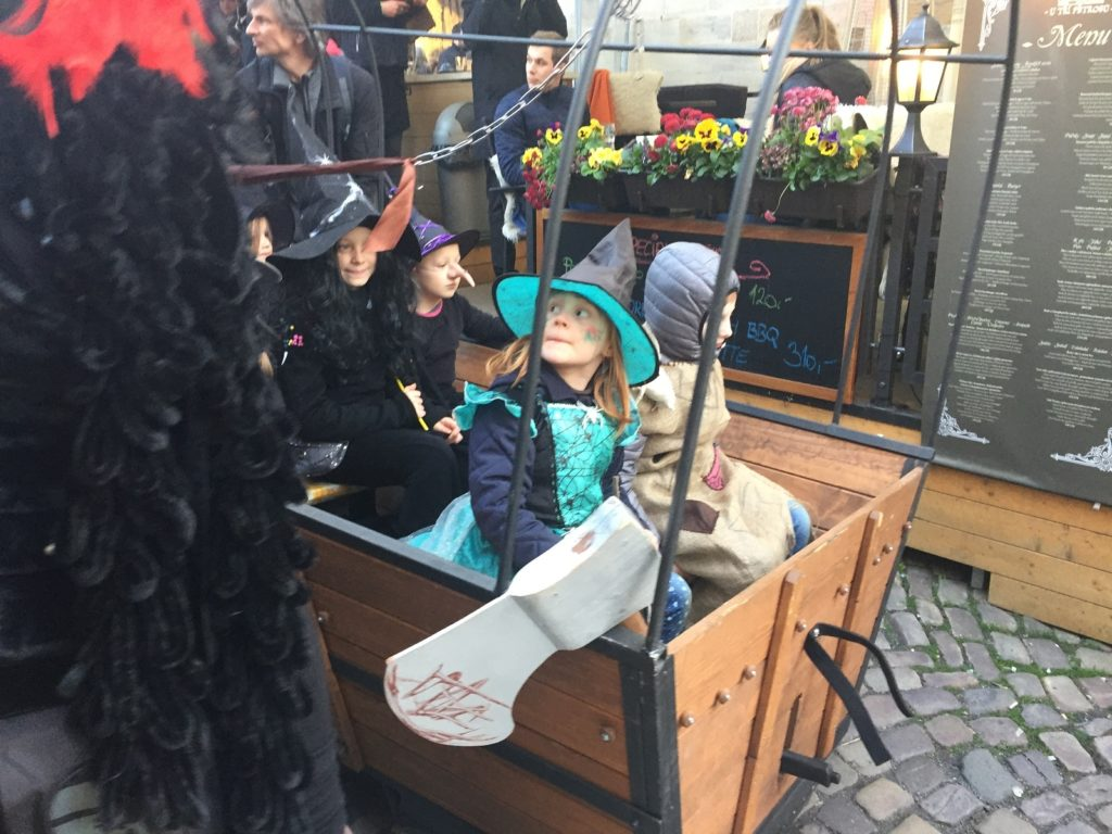 "Kids in costume in Prague for ""Witches Night"""