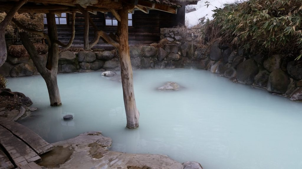 The mixed gender hot pool at Tsuru-no-yu onsen, Japan