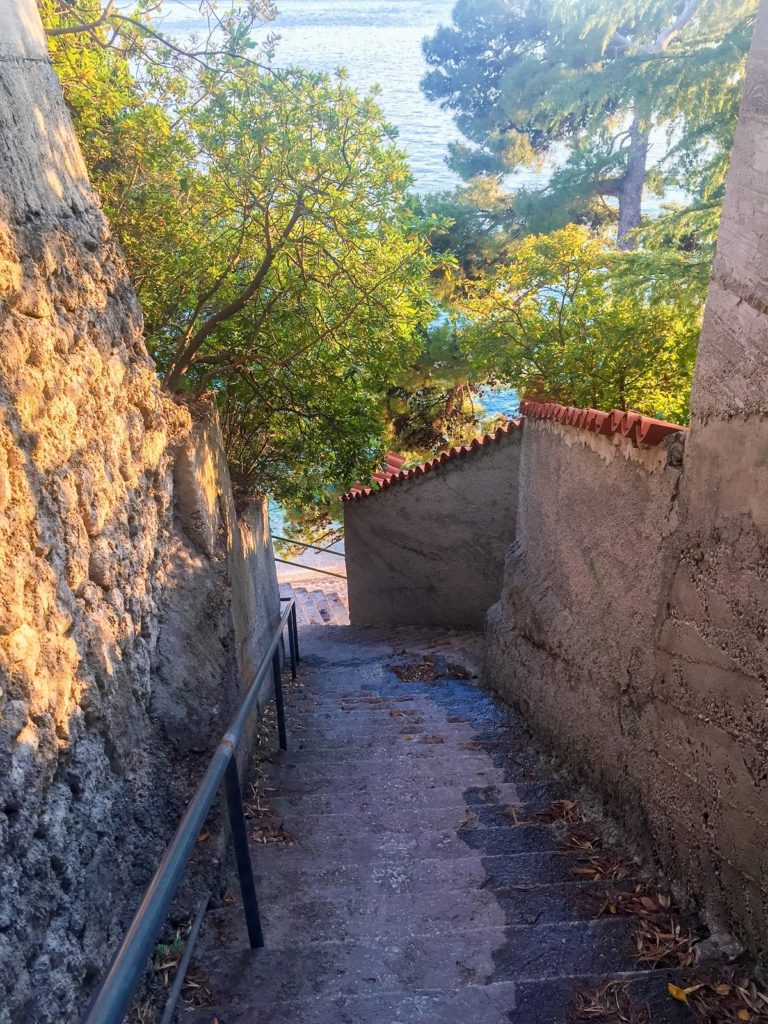 Stairs down to beaches on the Dalmatian Coast