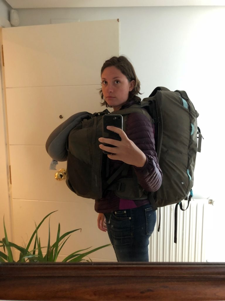 Natalie with the Osprey Fairview 55L