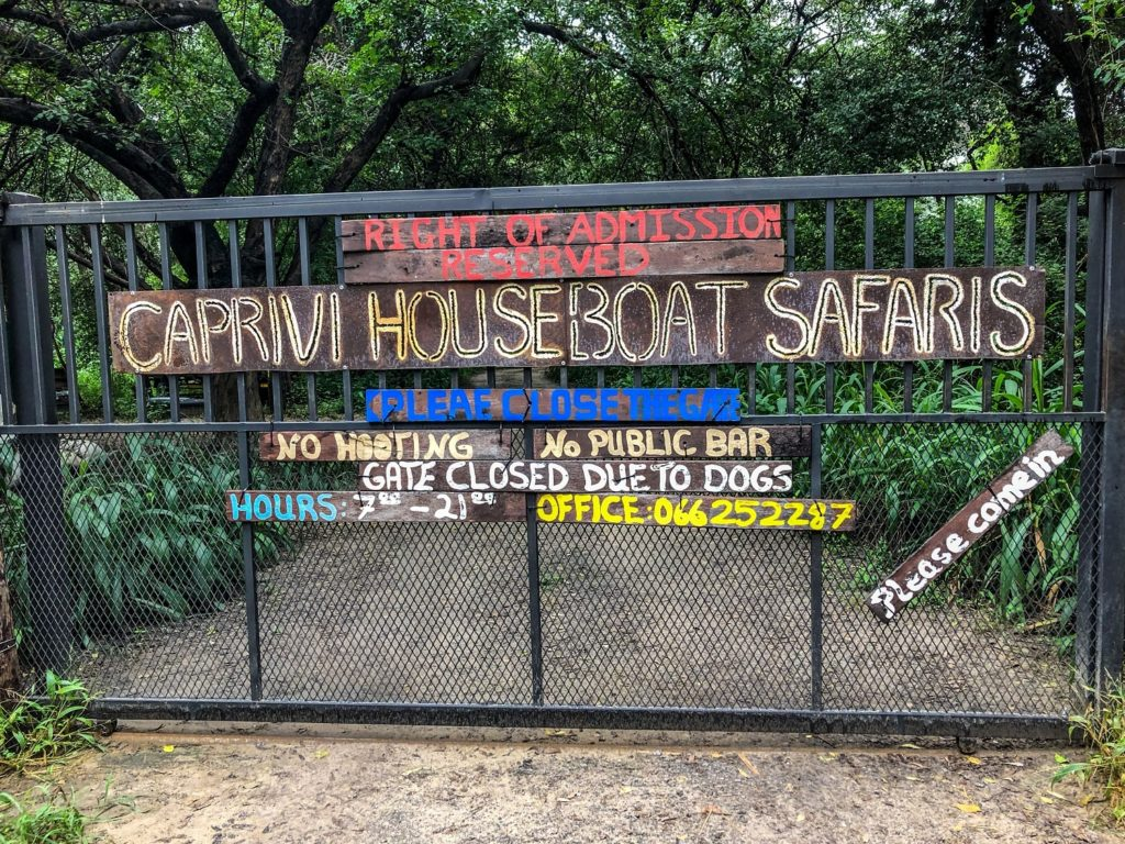 The Caprivi Houseboat Safari lodge's door