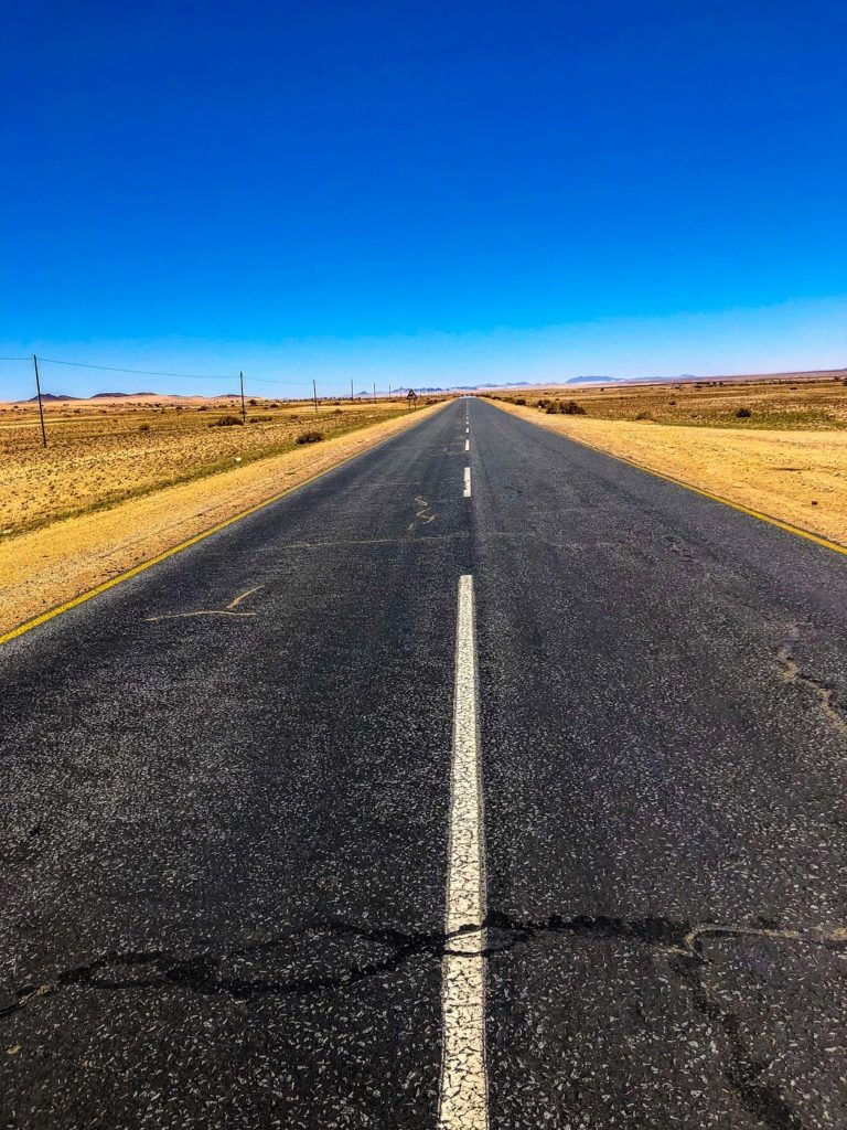 A paved road in Namibia