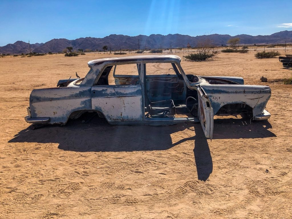 Busted car in the desert