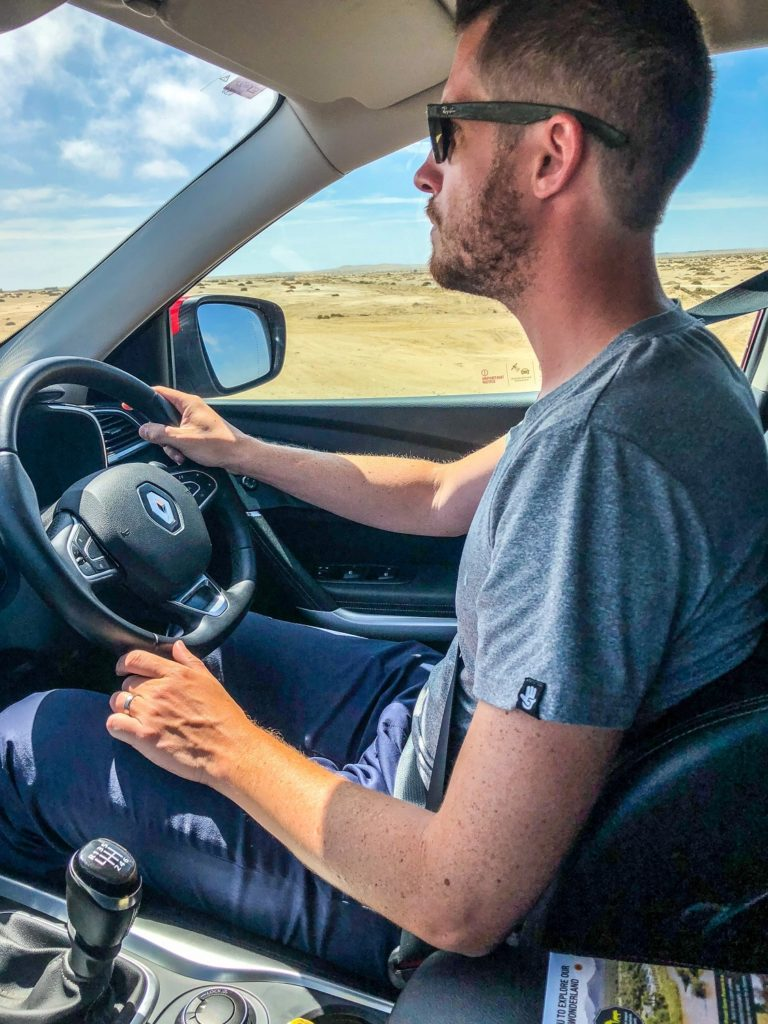 Jackson driving in Namibia