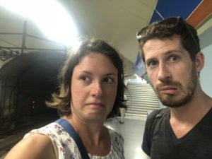 Natalie and Jackson in the Madrid metro