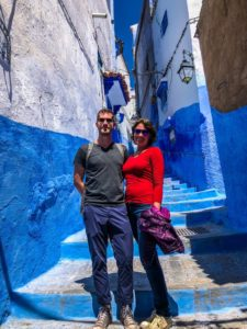 Natalie and Jackson in Chefchaouen