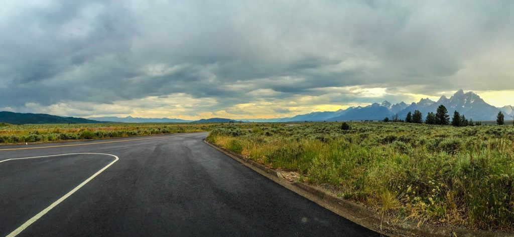 A road next to the Grand Tetons