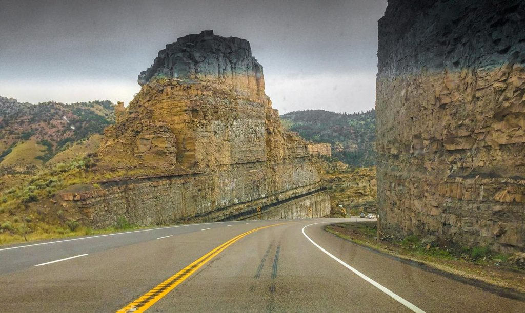 A road between two rocks in Utah