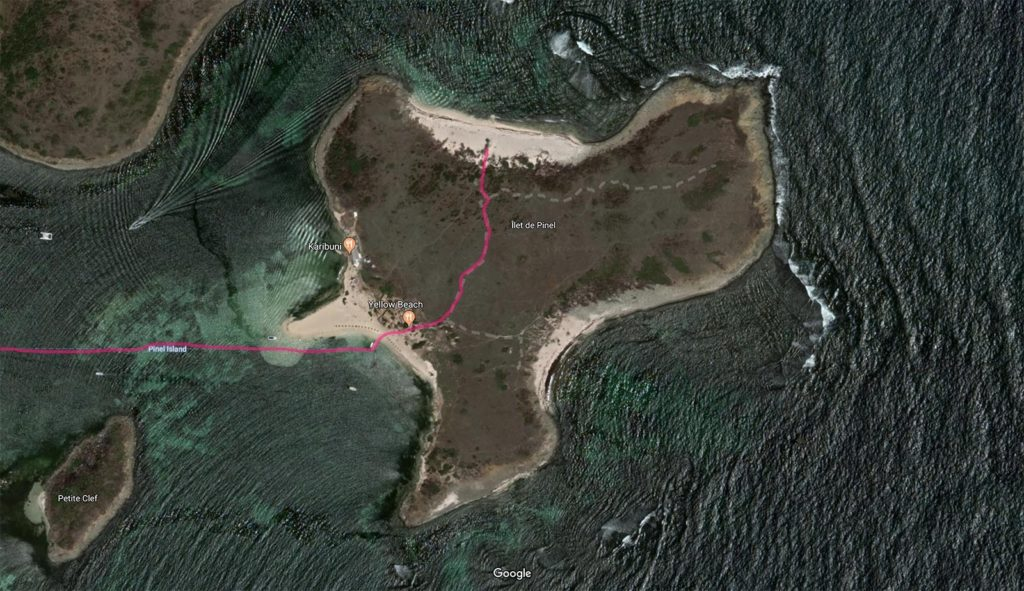 Map to the Pinel Island nude beach