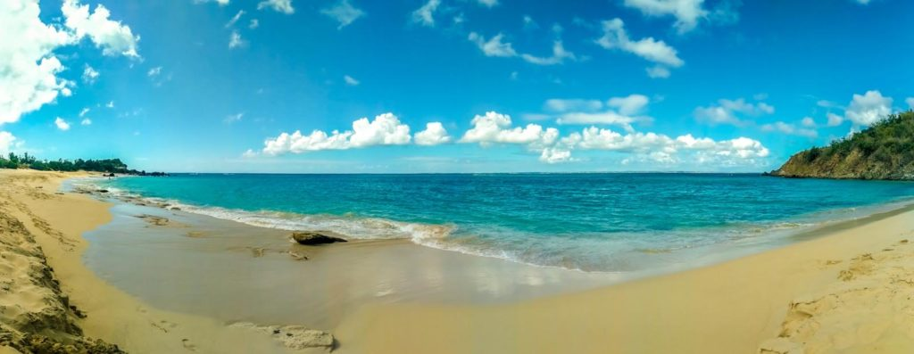 panorama of happy bay beach