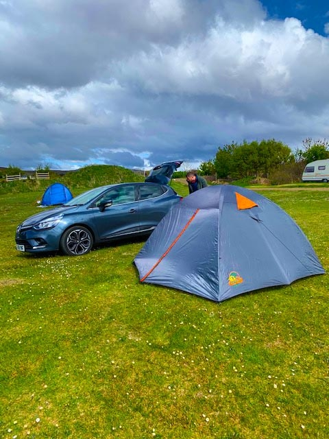 Setting up our camp in Scotland